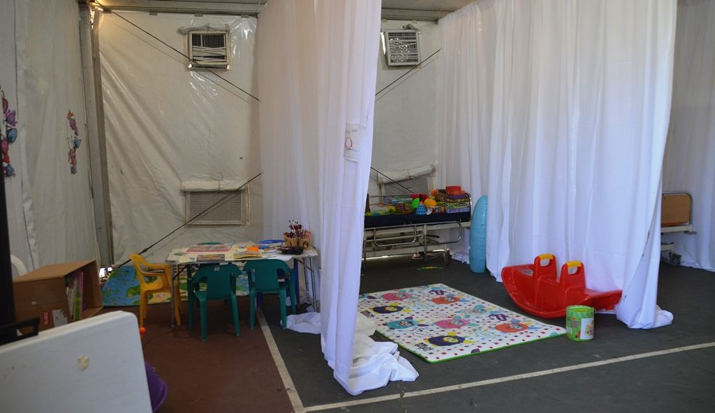 Gan Sacher hospital tent children with cancer
