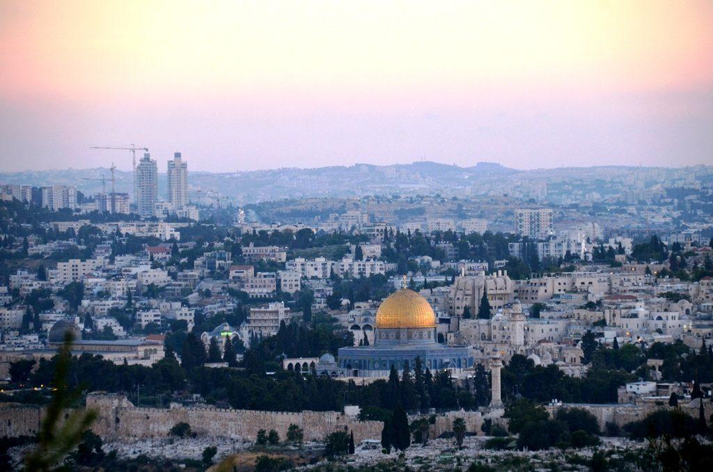 Sunset Jerusalem, Israel Old City from Mount Scopus