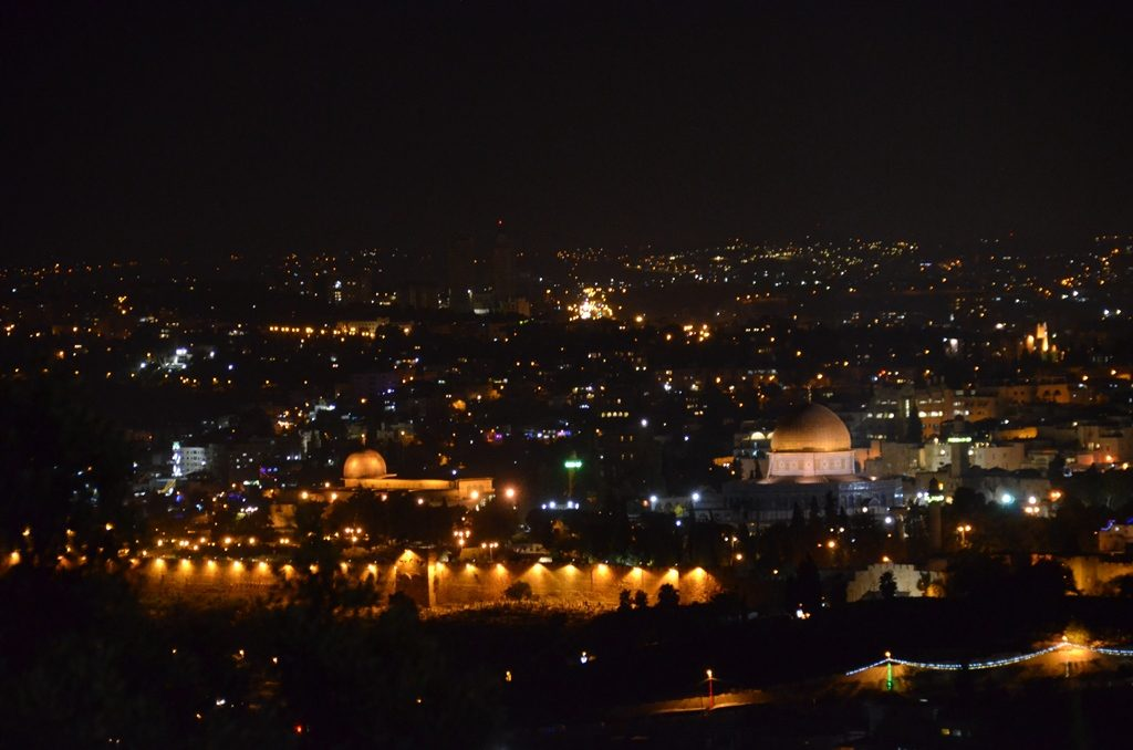 View of Old City lit at night from Har HaSofim