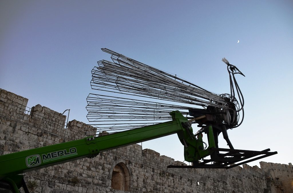 Giant robotic peacock for Jerusalem Light Festival