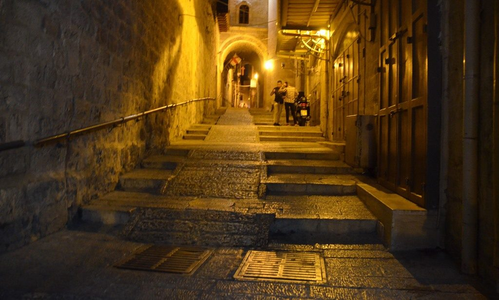 Street scene in Old City at night Jerusalem light festival