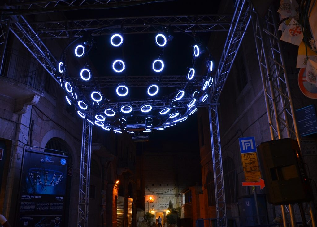 Light at HaAhim Street in Old City for Jerusalem Light Festival