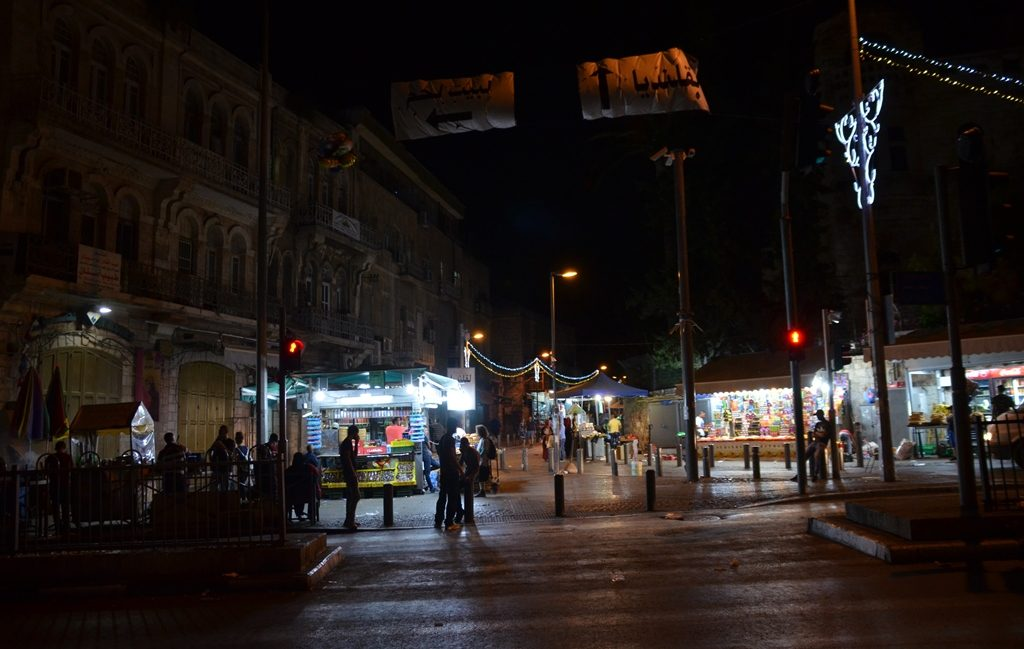 Across from Damascus Gate night of Light Festival