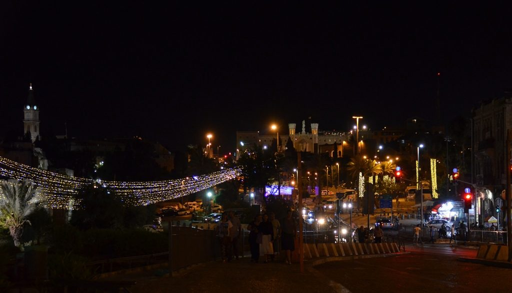 Jerusalem light festival night, view from Solomon's Stable