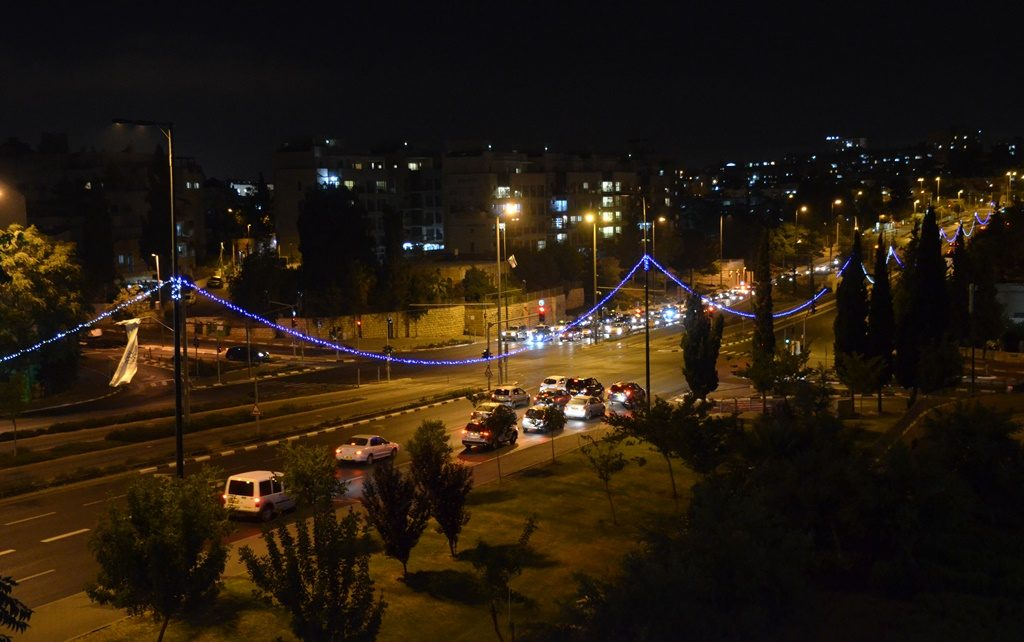 Blue lights lining streets of Jerusalem for Ramadan