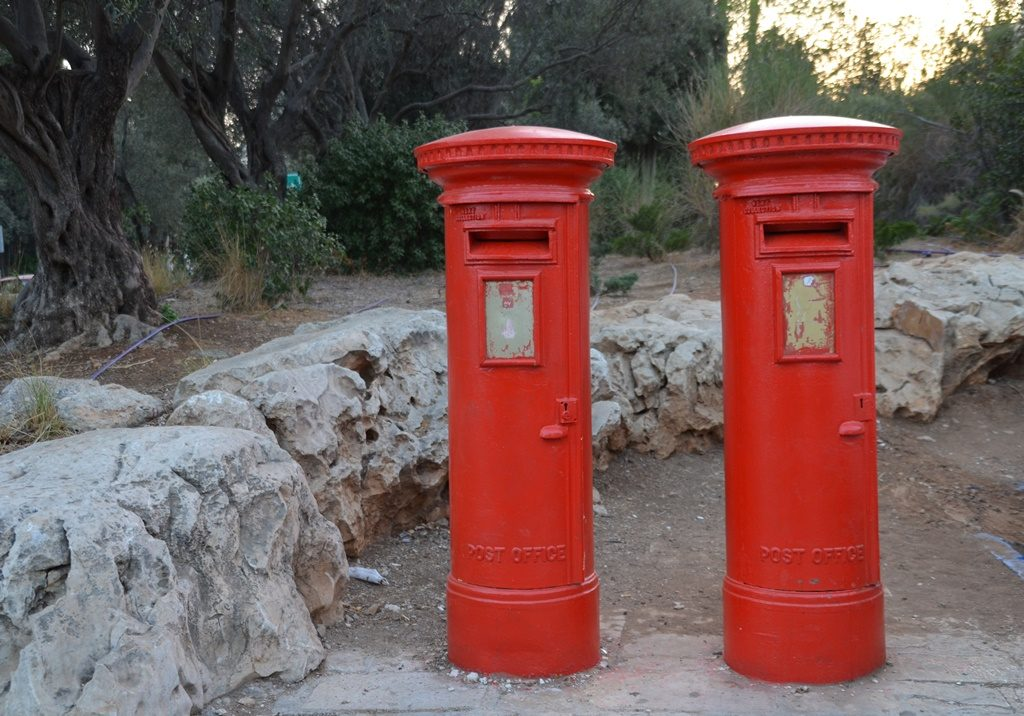 British Mandate mail boxes in Yemin Moshe painted red