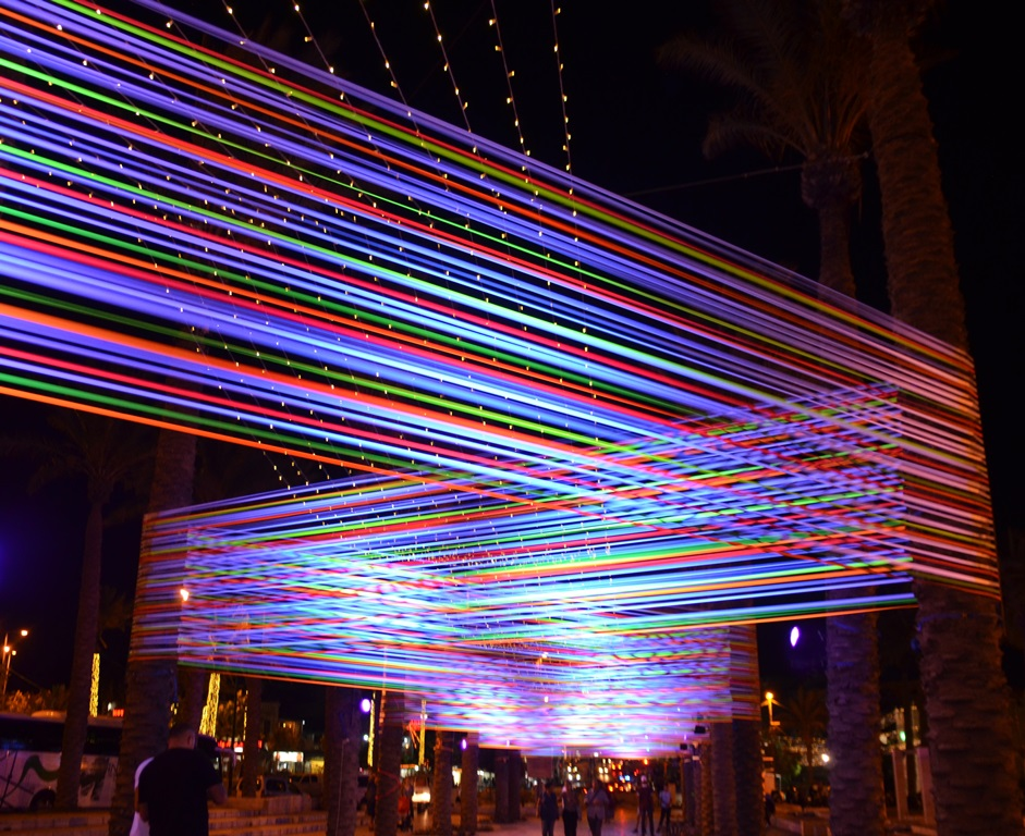 "Jerusalem Israel Palm Trees ""Horizontal INterference"" Light Festival"