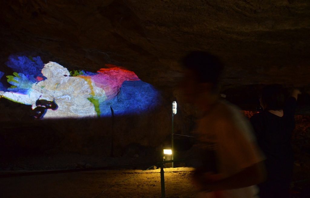 image in Zedekiah Cave for Jerusalem Light Festival