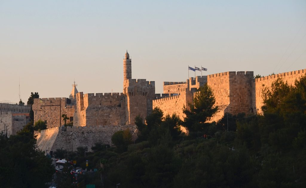 Old City Jerusalem, Israel view of walls at sunset