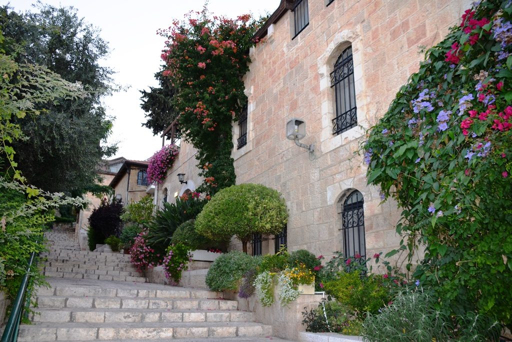 Stairs in Yemin Moshe Jerusalem Israel lined with flowers