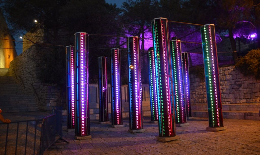 Colored lights at Jerusalem Light Festival 2017