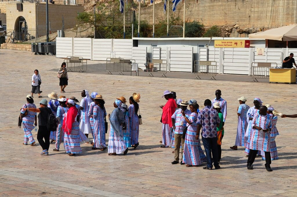 Group of tourists from Africa on Western Wall Plaza