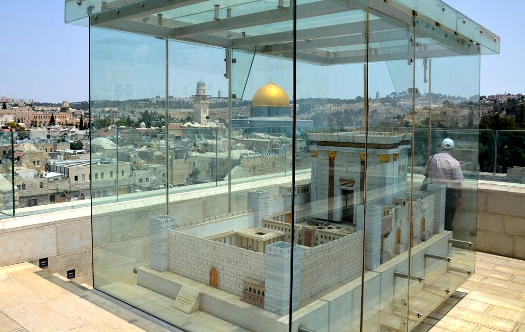 Jerusalem Israel Old City model to Second Temple on roof of Aish Hatorah overlooking Dome of Rock