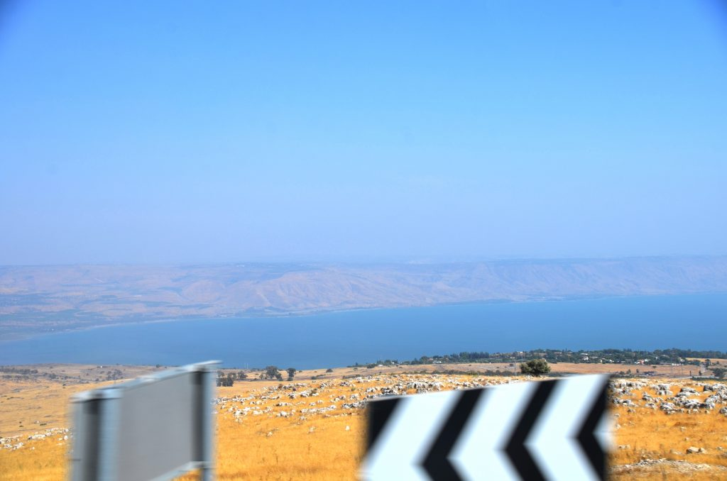 Kinneret view from bus on trip to Sitawe Family