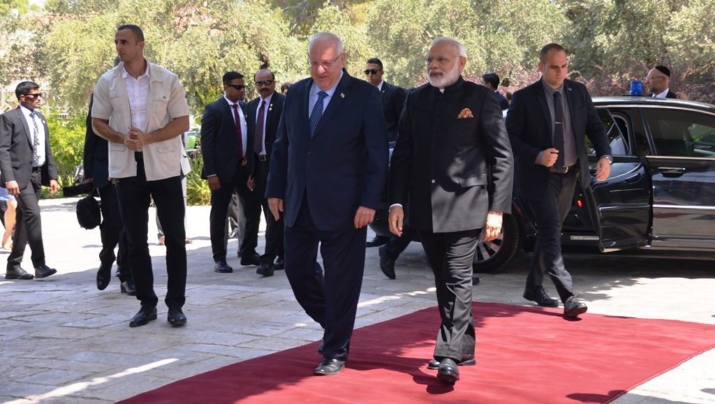 Walking red carpet into Beit Hanasi PM Modi of Indie
