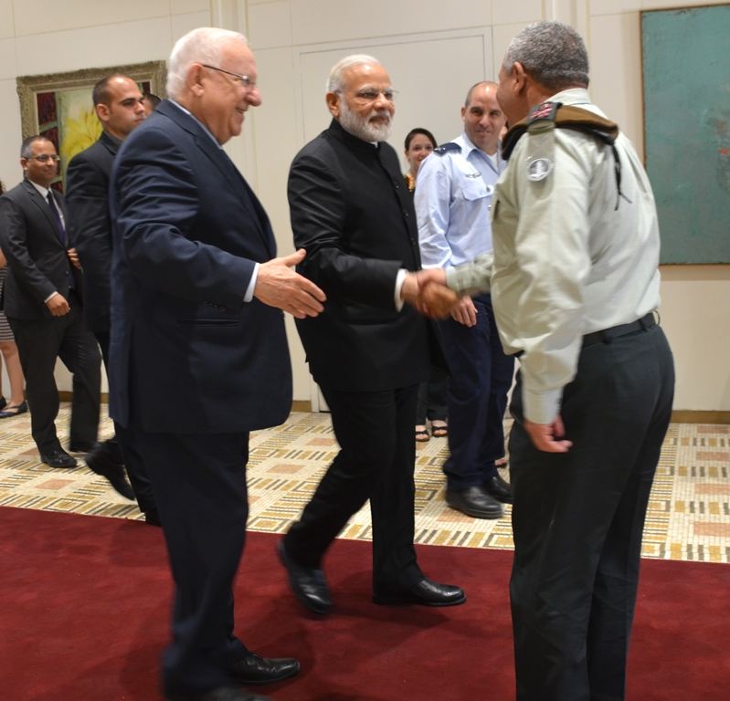 President Reuven Rivlin introduces head of Israeli Army to PM Modi of India in Jerusalem, Israel