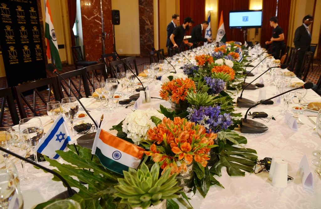 Lunch table at King David Hotel for PM Modi of India and those officials signing agreements.