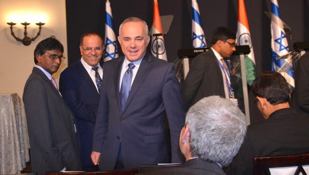 Israeli government MK Kara and Stelinlitz at King David Hotel for India Israel press conference