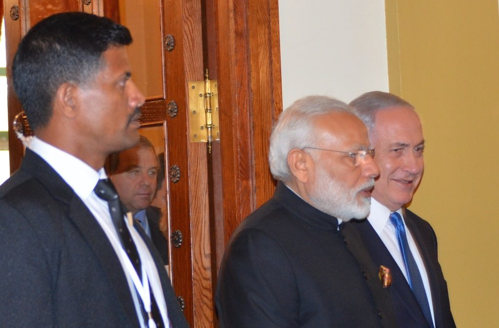 PM Modi and Netanyahu enter room for press conference at King David Hotel Jerusalem Israel