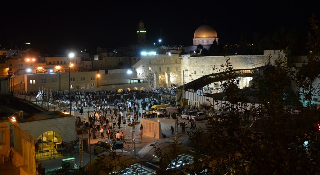 Western Wall Plaza view at night