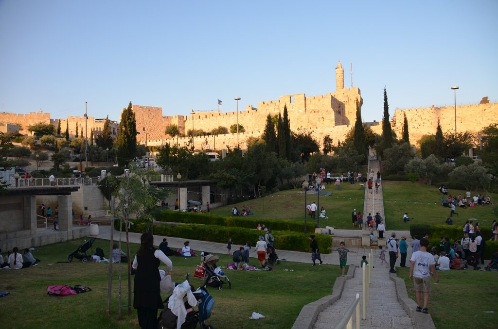 sunset over Teddy Park Jerusalem, Israel Old city wallls