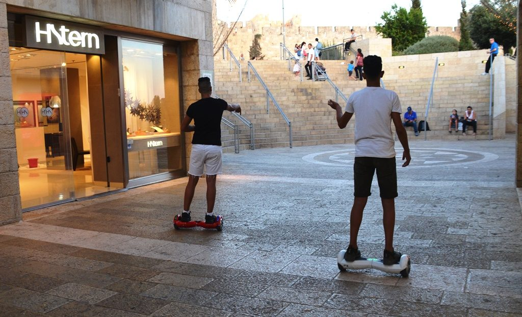 Two boys in Mamilla Mall near Jaffa Gate Jerusalem Israel