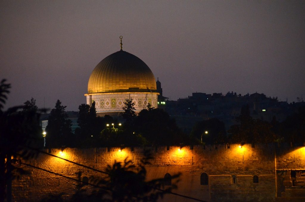 gold dome view of Old City at night from Har Hazeitim