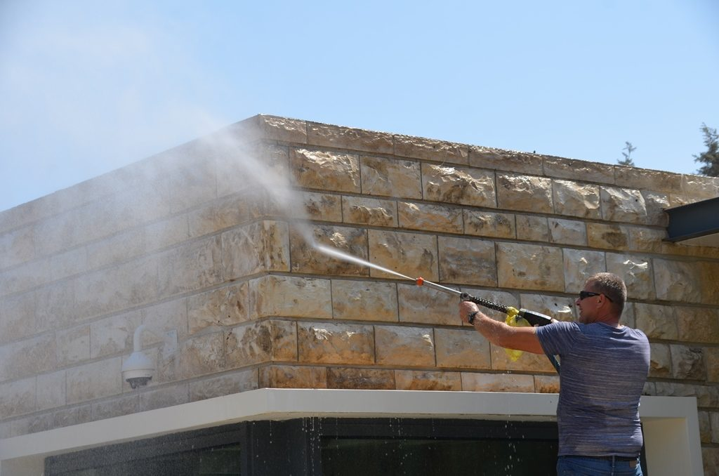 Beit Hanasi getting cleaned by power-wash