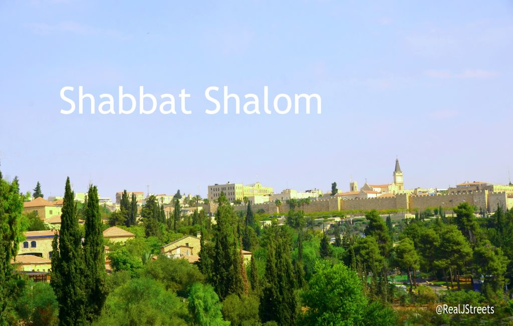 Shabbat shalom poster with view of Yemin Moshe and Old City from foot bridge near Begin Center