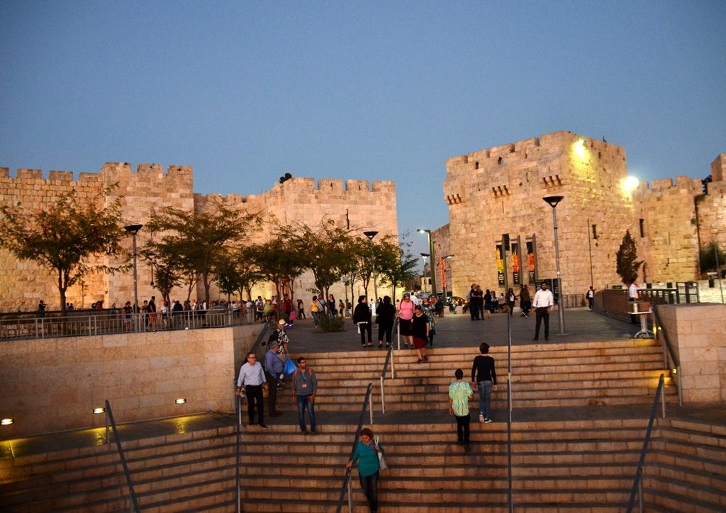 View of Jaffa Gate from outside Jerusalem Israel