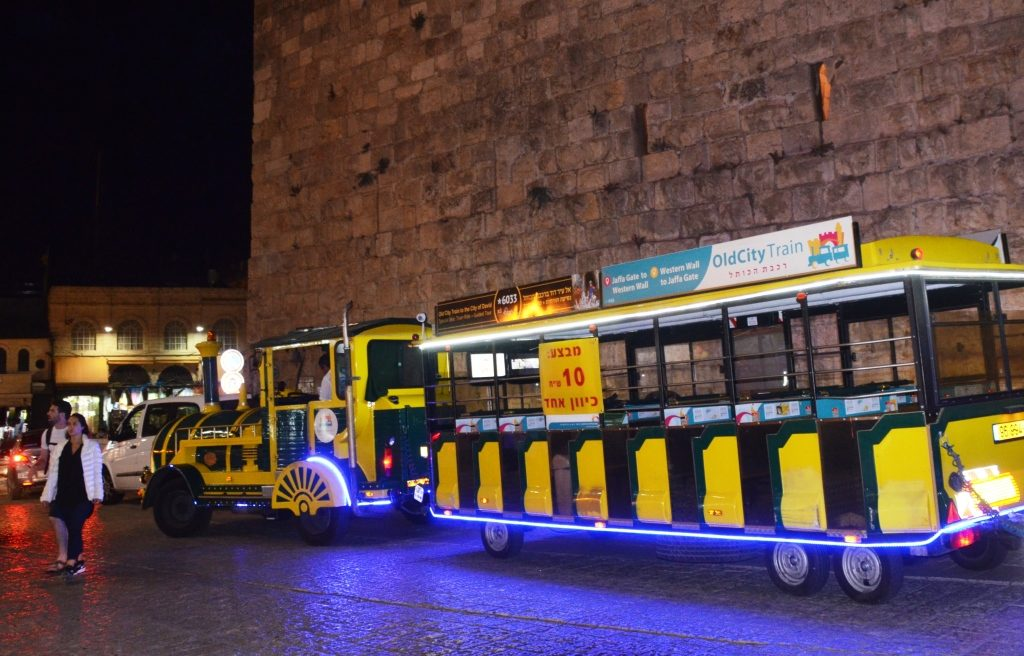 Jerusalem Old City train for tourist to Western Wall