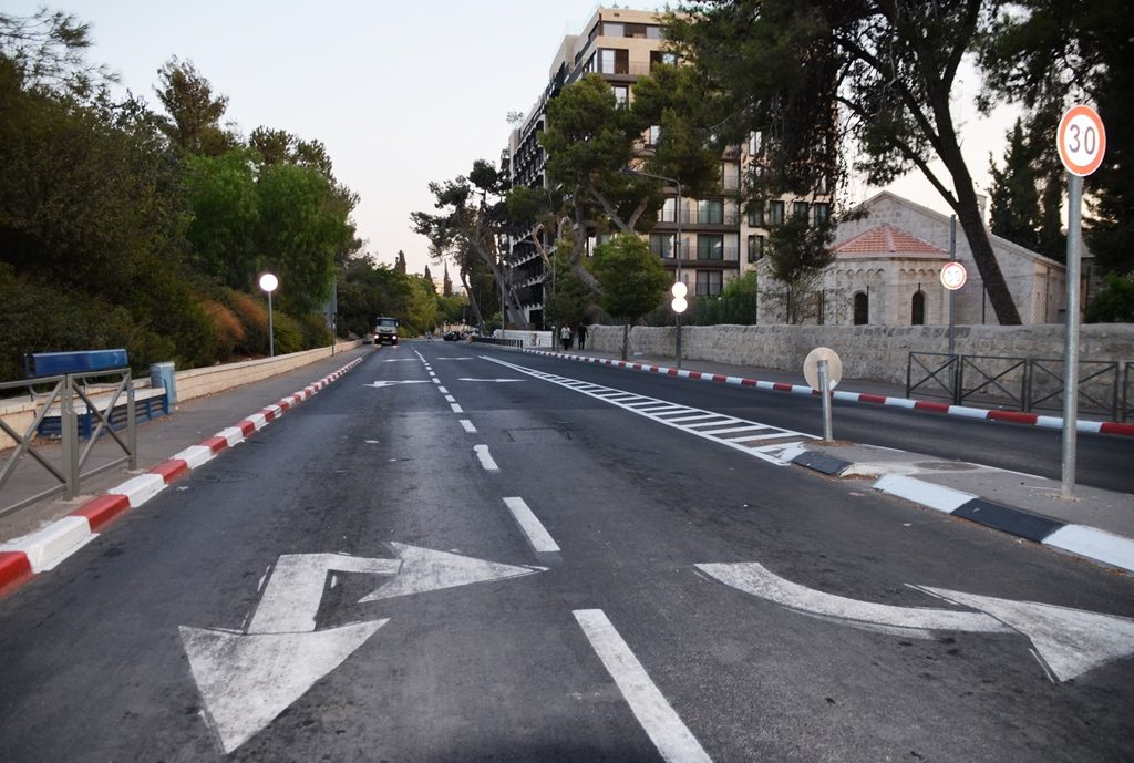 Main street Cerech Beit Lehem closed to traffic Jerusalem Israel