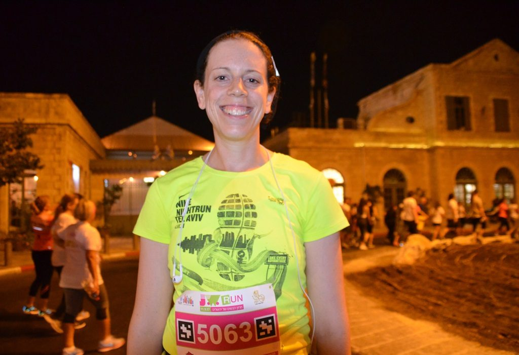 Ilana Guttman before winning the 5K race in Jerusalem