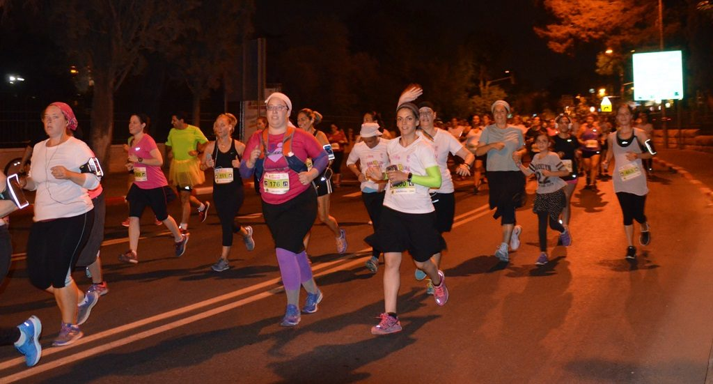 Runners in Jerusalem Women's Night Race