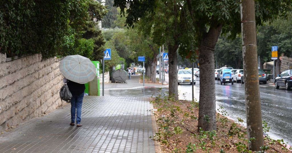 Rain in Jerusalem in October, first of season