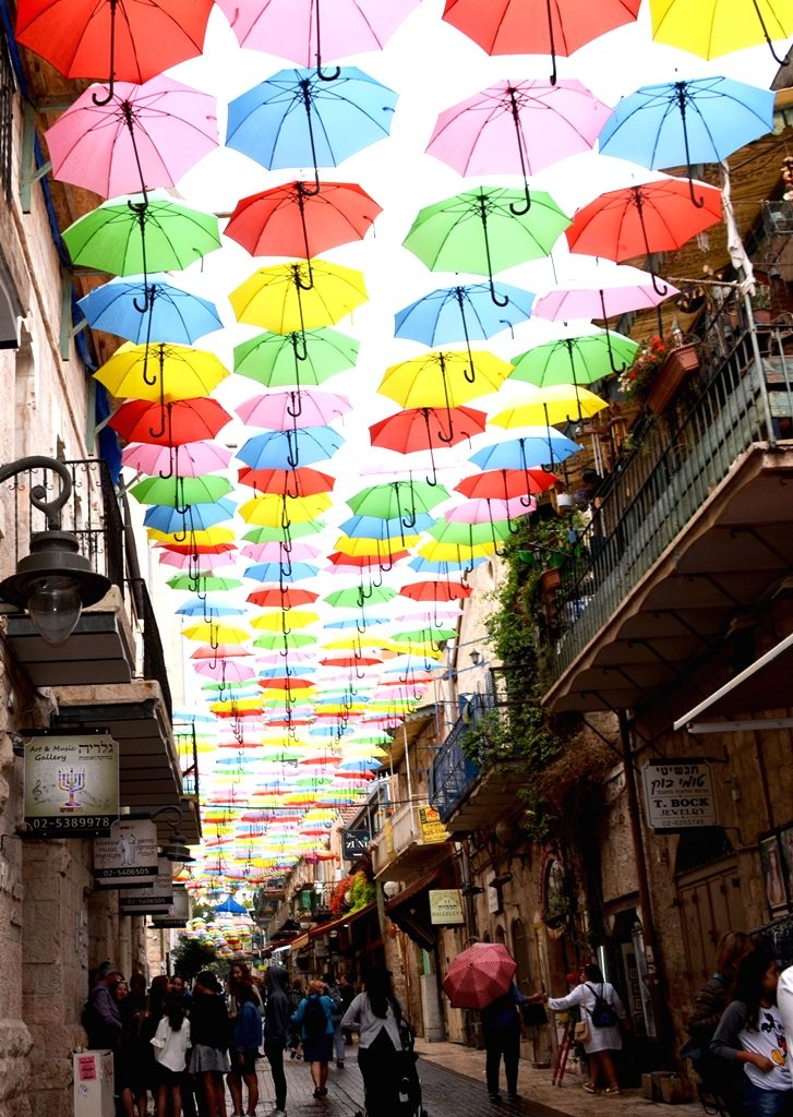 Umbrellas above Yoel Salomon Street in Jerusalem Israel