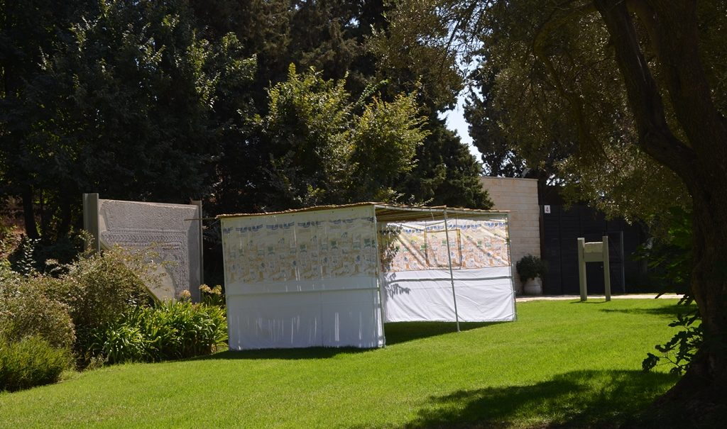 Small sukkah at Beit Hanasi before Sukkot