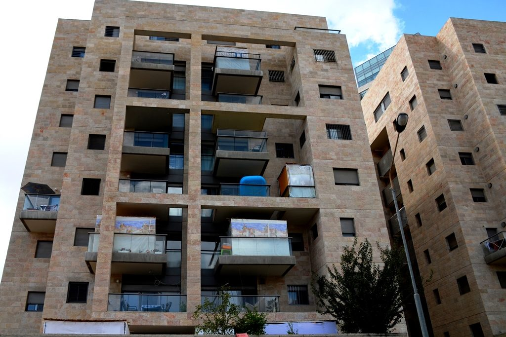 Sukkot on balconies in Jerusalem Israel