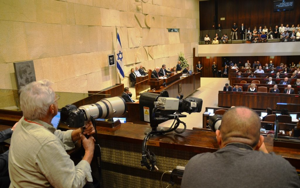 Israeli cameramen and webcam at Knesset