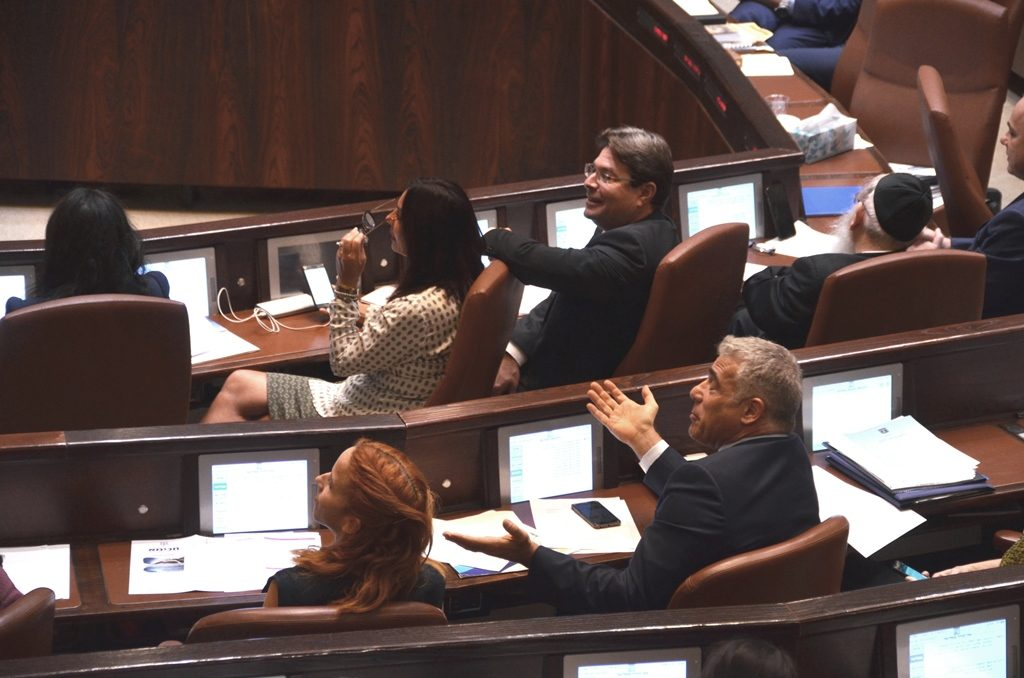 MK Yair Lapid shouting out as Prime Minister speaks