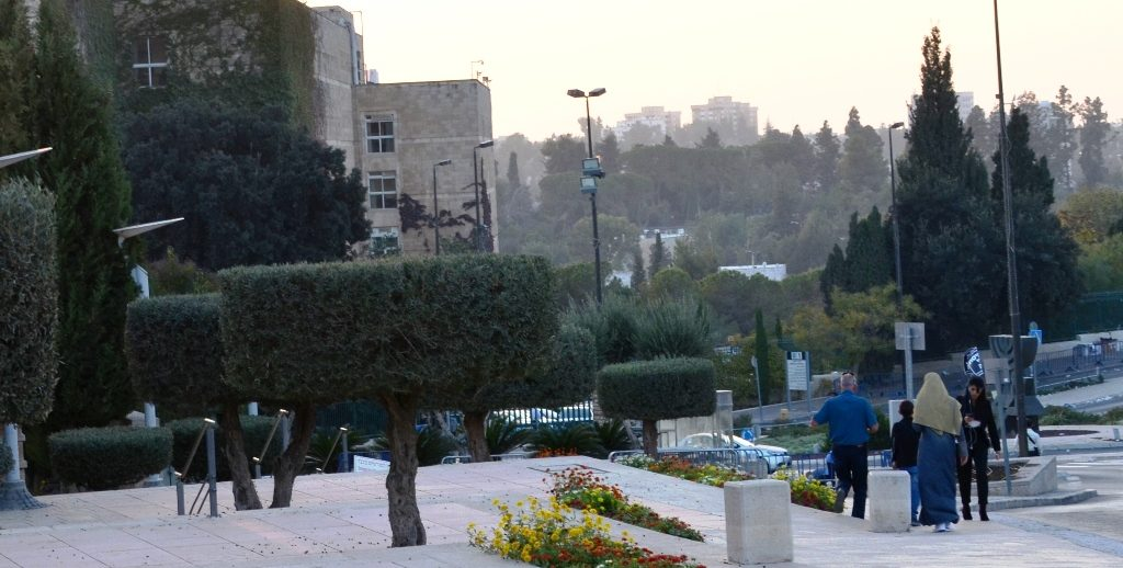 Knesset near sunset after opening session