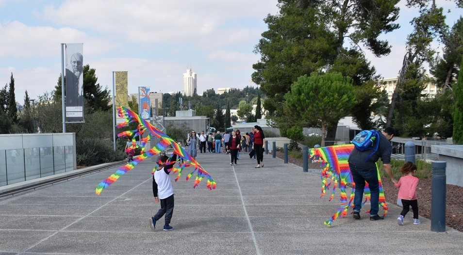 Children with kites inside the Israel Museum for festival on Sukkos