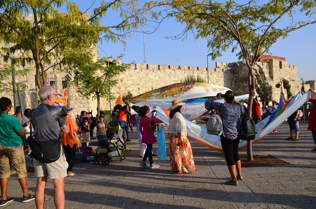 Christian pilgrims dance and sing in Jerusalem Israel