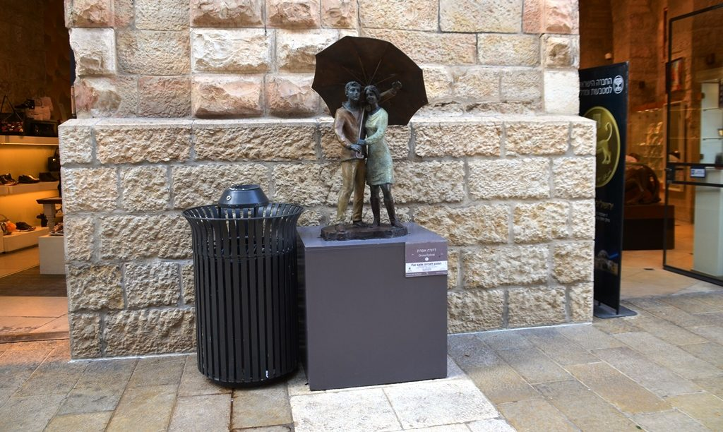 Umbrella rain statute in Jerusalem Mamilla Mall