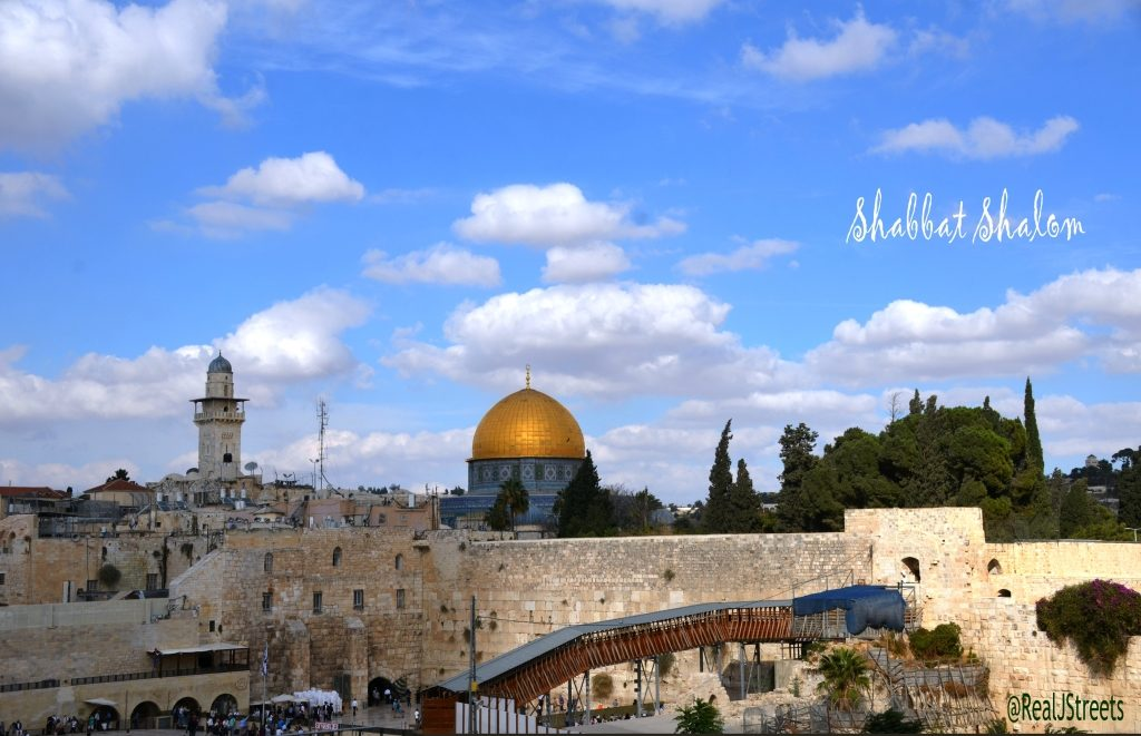 View of Western Wall, Kotel, Shabbat shalom poster
