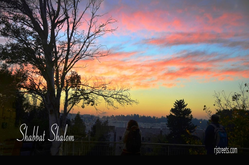 Shabbat shalom poster sunset sky with clouds and colors