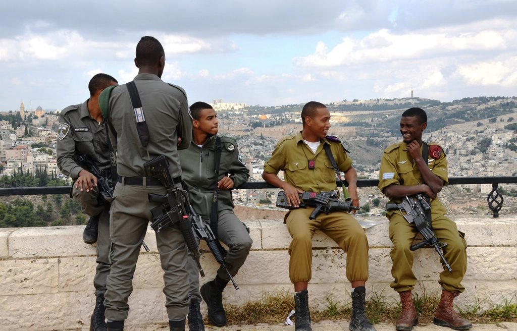 Young male IDF soldiers in uniform for Sigd in Jerusalem Israel on Tayelet