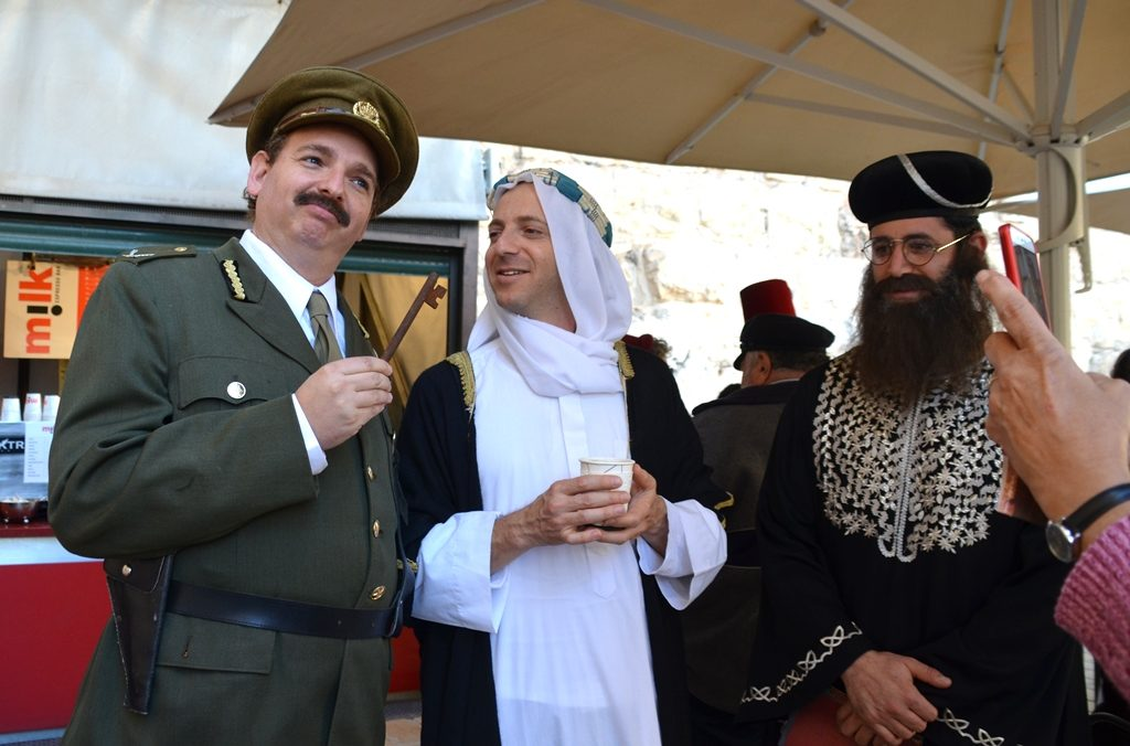 Actors Allenby and Lawrence of Arabia at Tower of David Museum after reenactment holding key