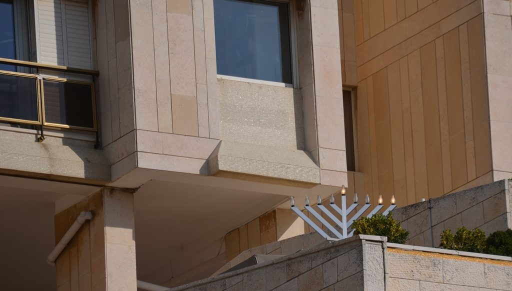 Unusual menorah in Jerusalem Israel on Hanukkah