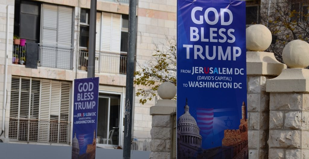 God Bless Trump posters in Jerusalem Israel